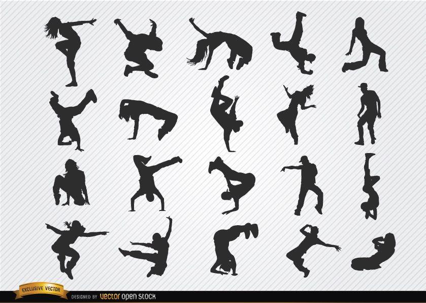 Siluetas de break dance