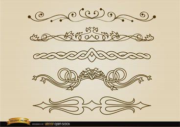 Conjunto de linhas de divisão decorativas