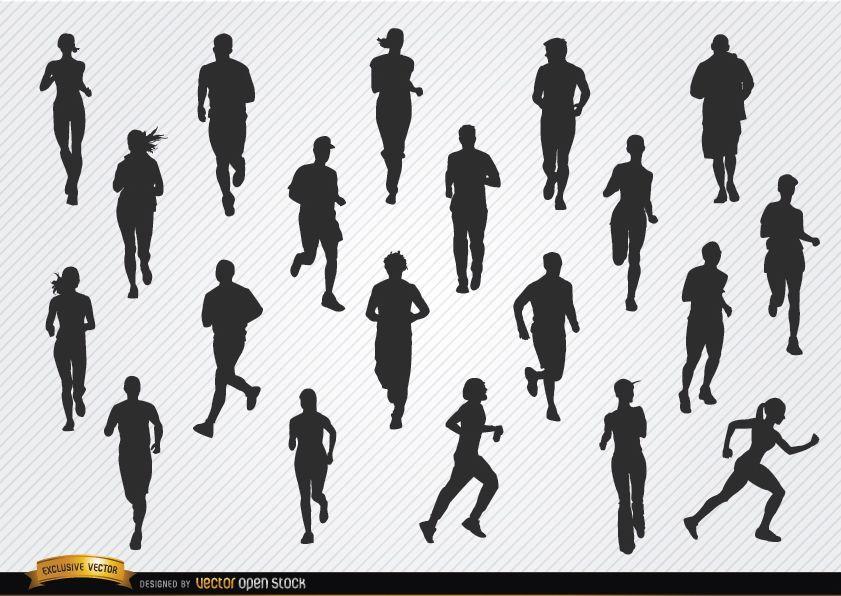 Gente jogging siluetas