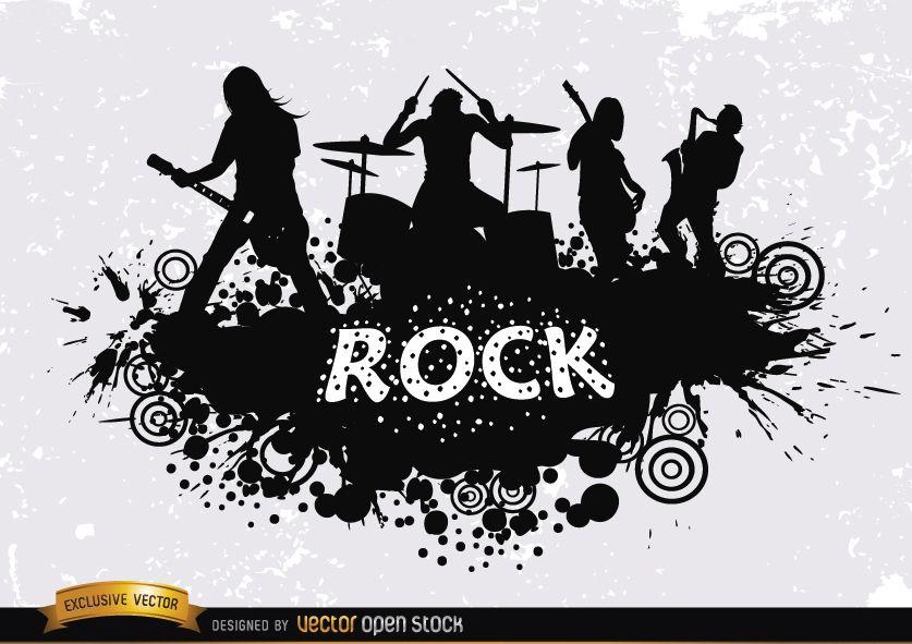 Silueta de grunge de banda de rock