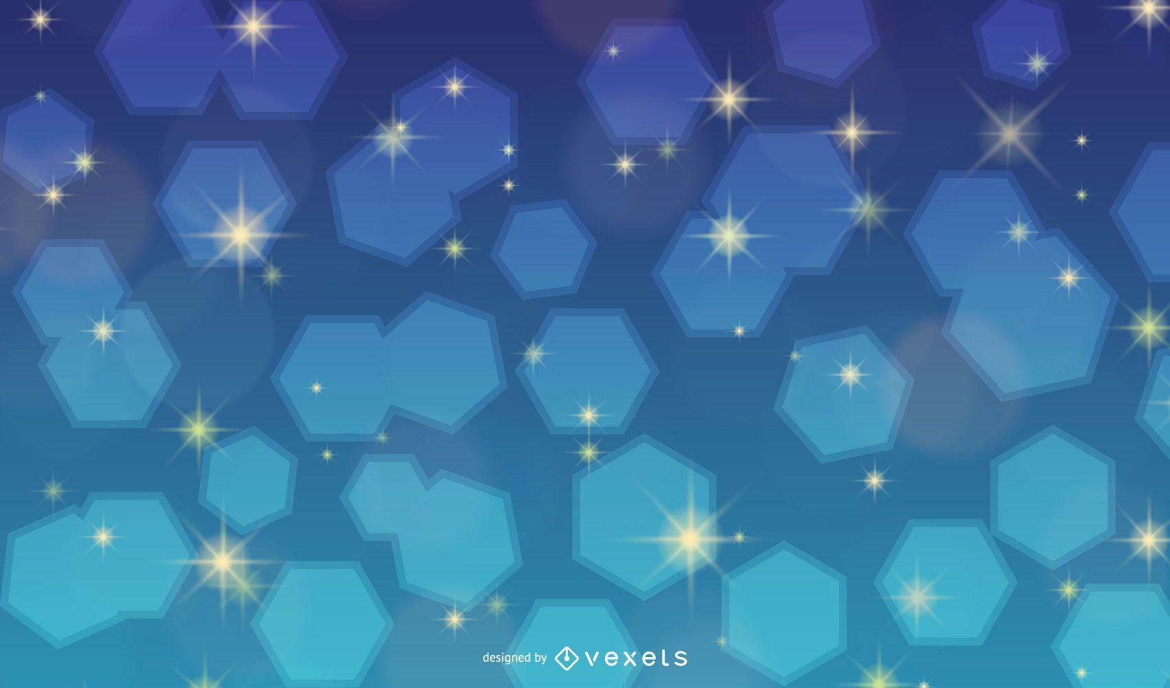 Shiny Colorful Background with Blinking Honeycomb
