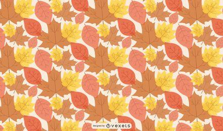 Padrão de folhas de outono de linho sem costura