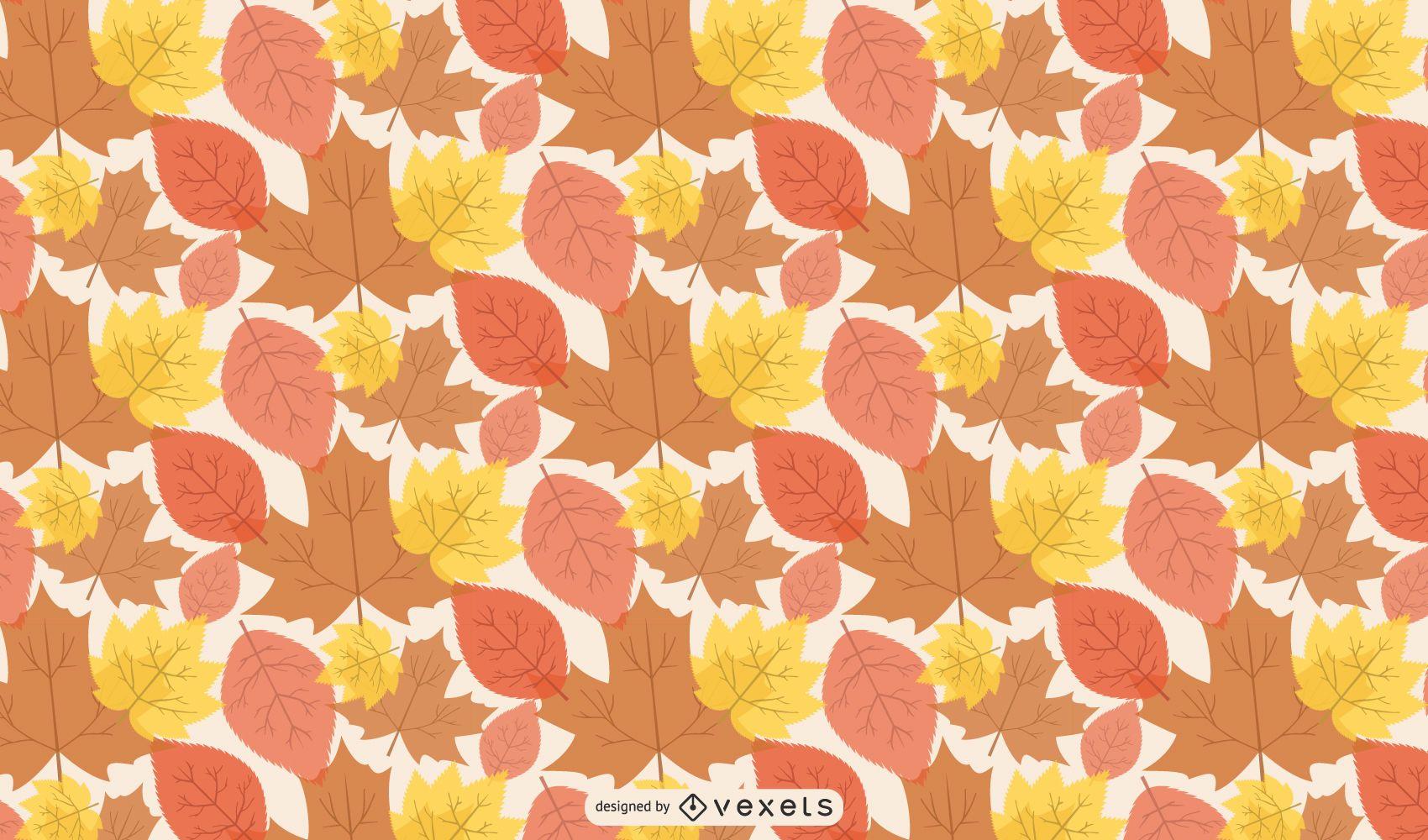 Seamless Linen Autumn Leaves Pattern