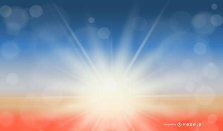 Sonnenlicht blendet auf buntem Hintergrund