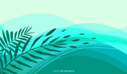 Fondo abstracto de hojas y olas verdes