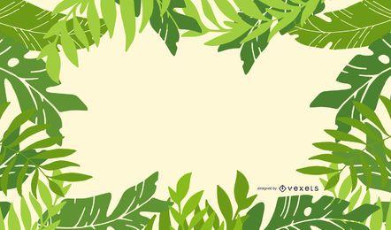 Fondo de marco de hojas verdes frescas