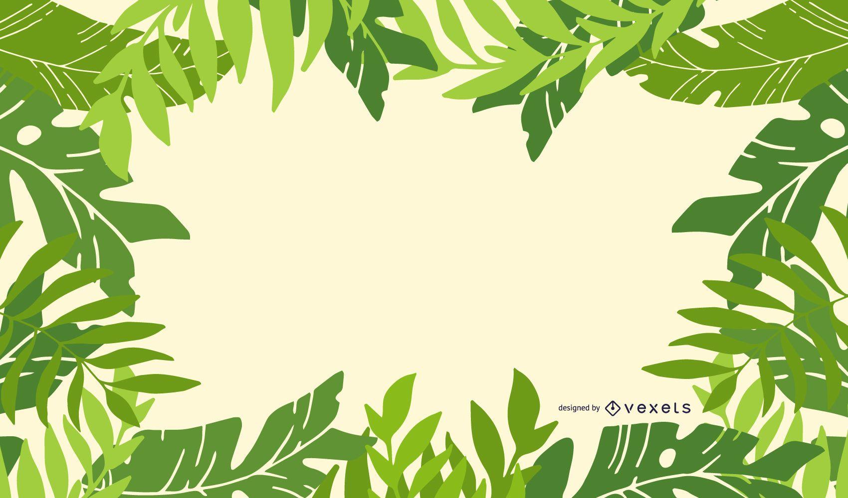 Fresh Green Leaves Frame Background