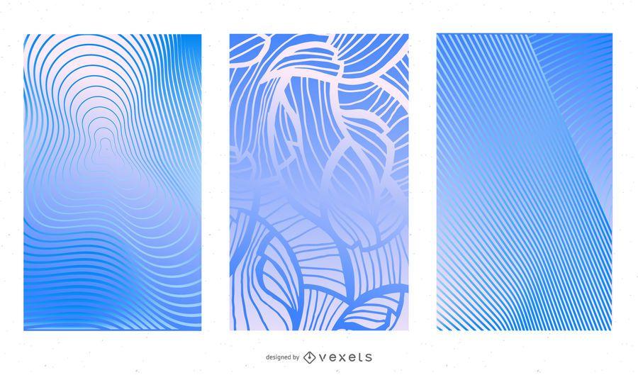 Fundo abstrato azul elegante conjunto com linhas