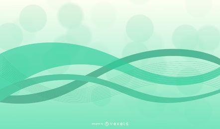 Fondo abstracto ondas verdes con curvas