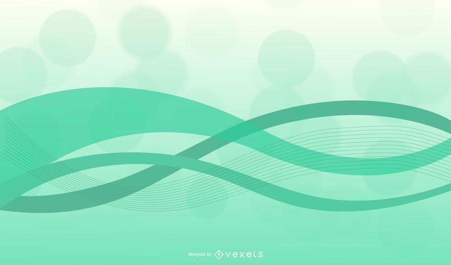 Fondo abstracto de ondas verdes con curvas