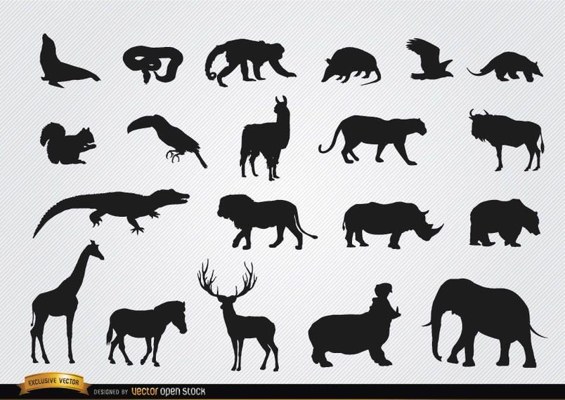Silhuetas de animais selvagens