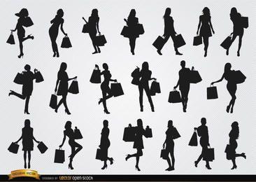 Silhuetas de compras de mulheres
