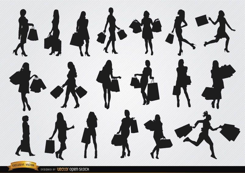 Meninas, com, bolsas para compras, silhuetas