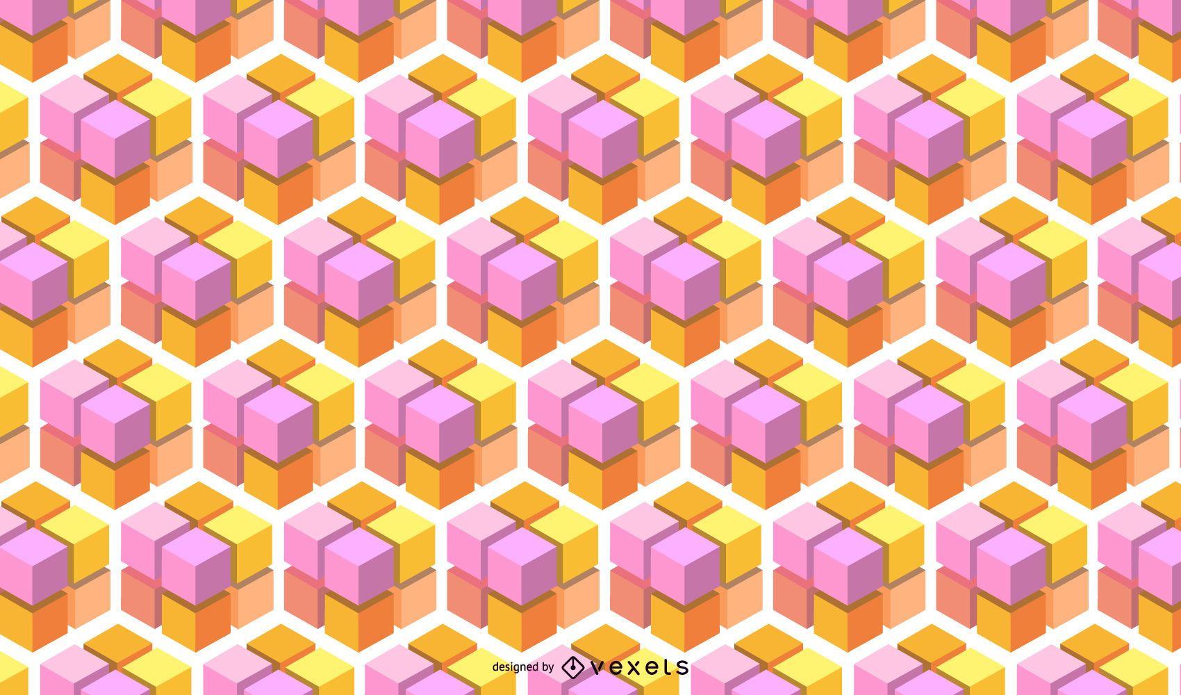 Patrón cúbico 3D abstracto geométrico