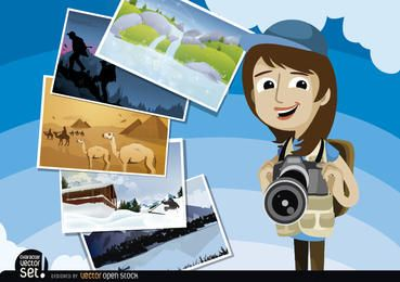 Periodista fotográfico con imágenes de todo el mundo