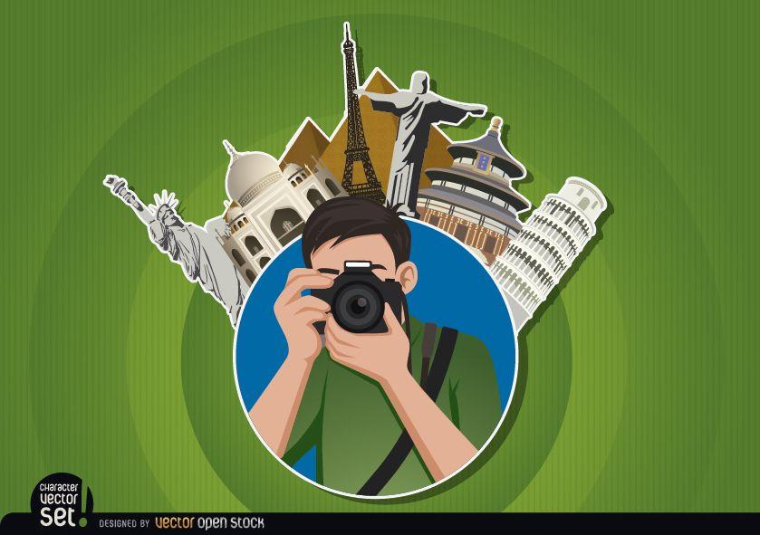 Logotipo de fotógrafo con hitos