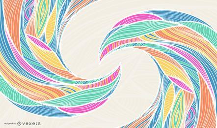 Rainbow Background with Waving Swirls