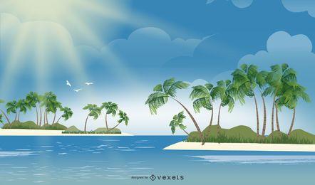 Isla del océano tropical hermosa fresca
