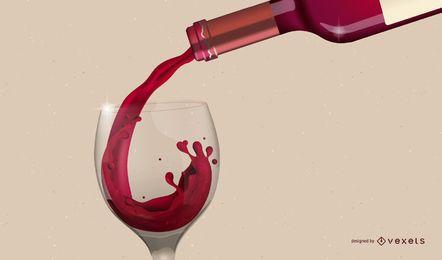 Verter el vino tinto en el vaso