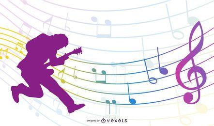 Guitarrista de silhueta com notas musicais coloridas