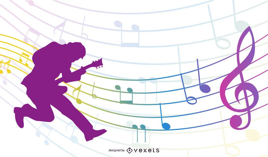 Silhouette Guitarist with Colorful Musical Notes