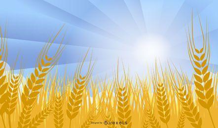 Campo de trigo estilo funky em um dia ensolarado