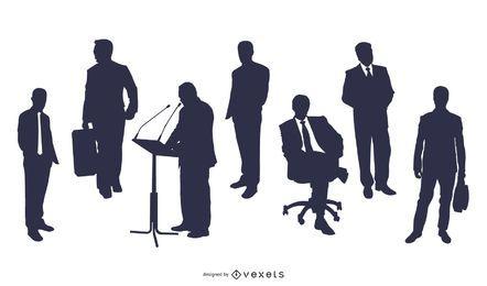 Conjunto de personas orientadas a negocios y carrera de silueta