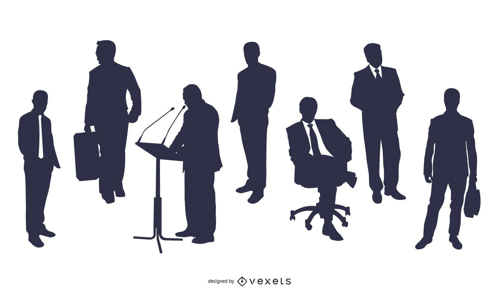 Conjunto de personas orientadas a la carrera y negocios de silueta