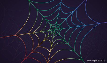 Fondo de tela de araña del arco iris con gotas de rocío