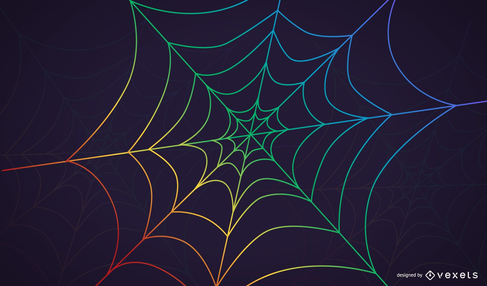 Rainbow Spider Web Background with Dewdrops