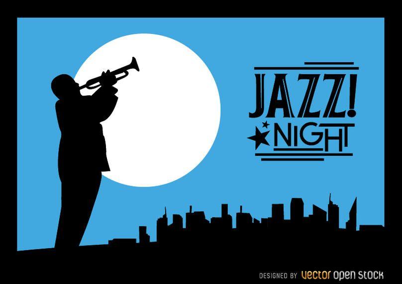 Jazz trumpeter silhouette city night skyline