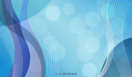 Curvas azules 3D con burbujas y destellos de bokeh