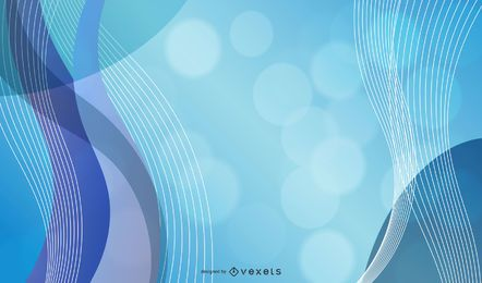 Ondas 3D azuis com bolhas de Bokeh e brilhos