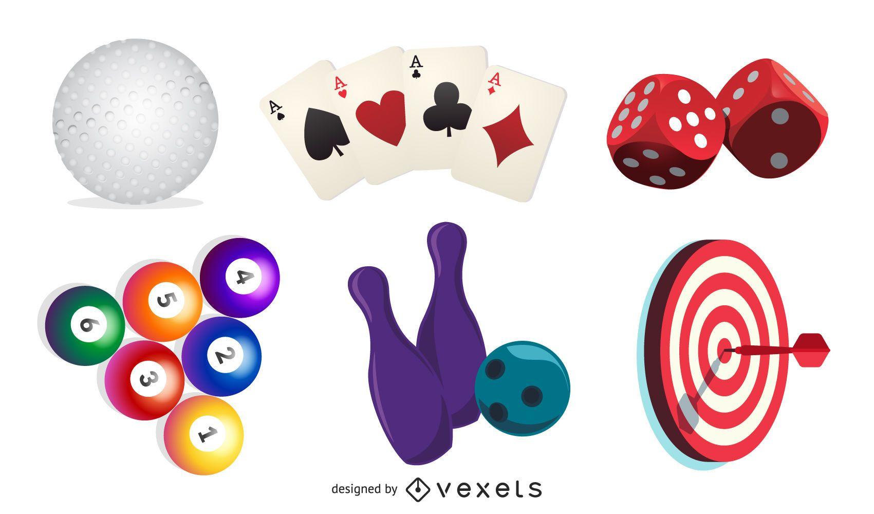 Conjunto de elementos de entretenimiento y deporte realista