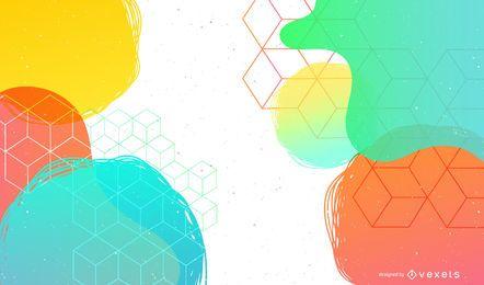 Fundo colorido abstrato círculos cúbicos