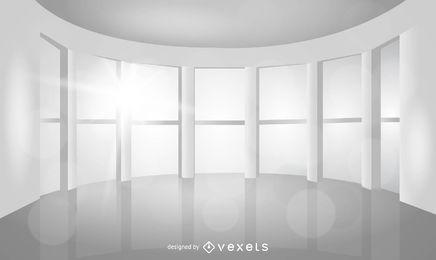 Sala vazia realista com grandes janelas