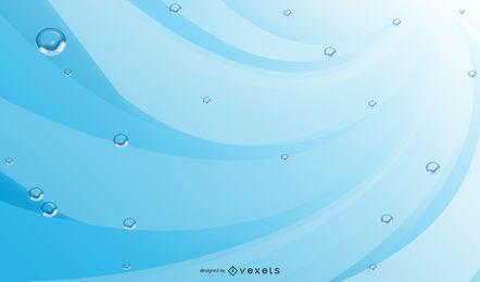 Fondo abstracto azul con burbujas y líneas de agua