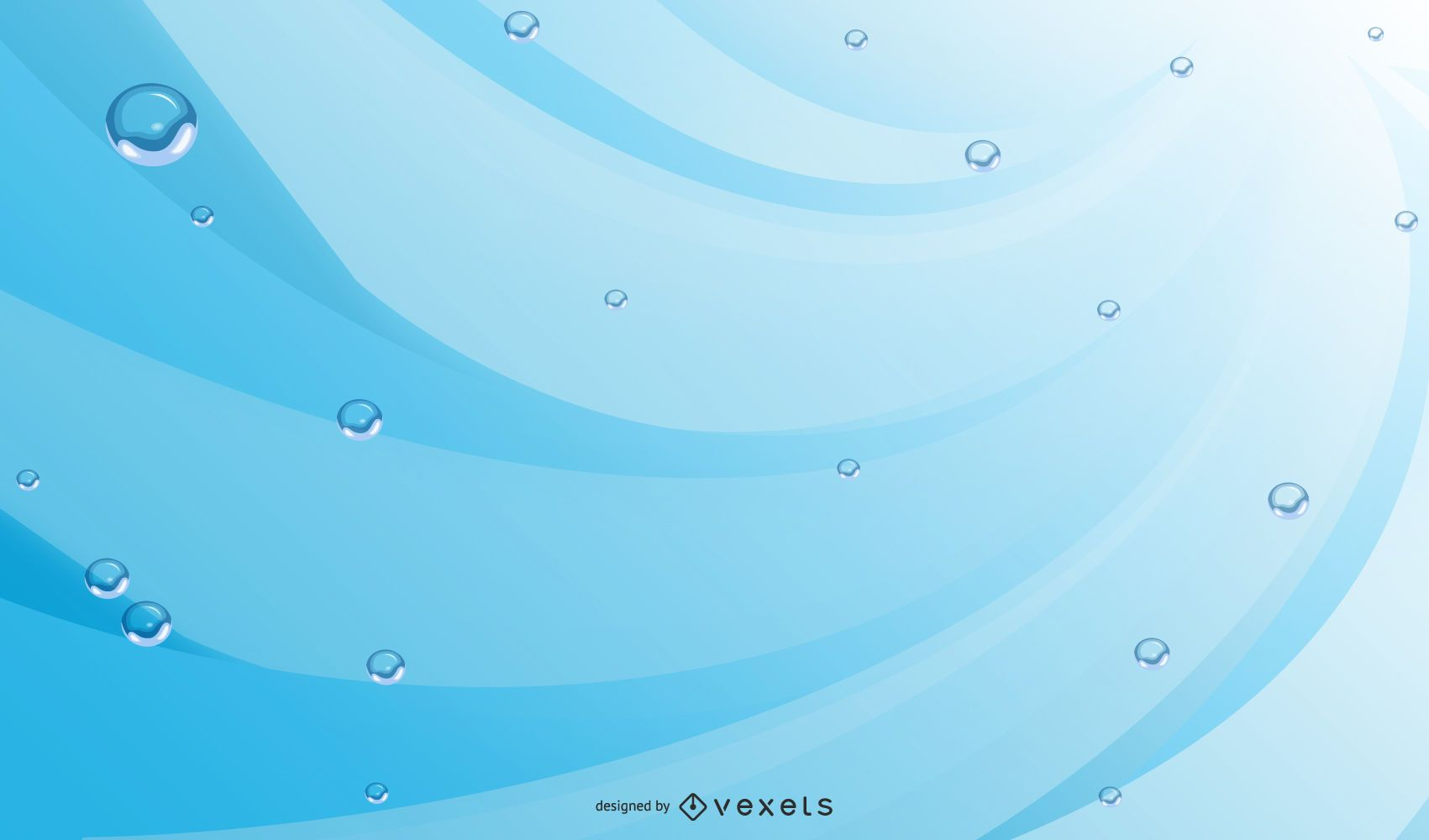 Abstract Blue Background with Water Bubbles & Lines