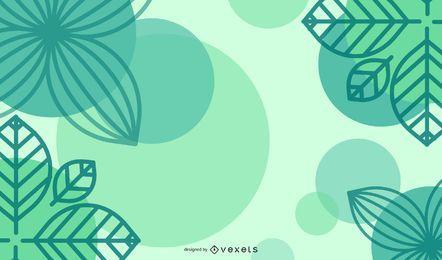 Fondo verde abstracto ecológico con hojas y curvas