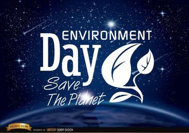 Día del medio ambiente planeta tierra desde el espacio.