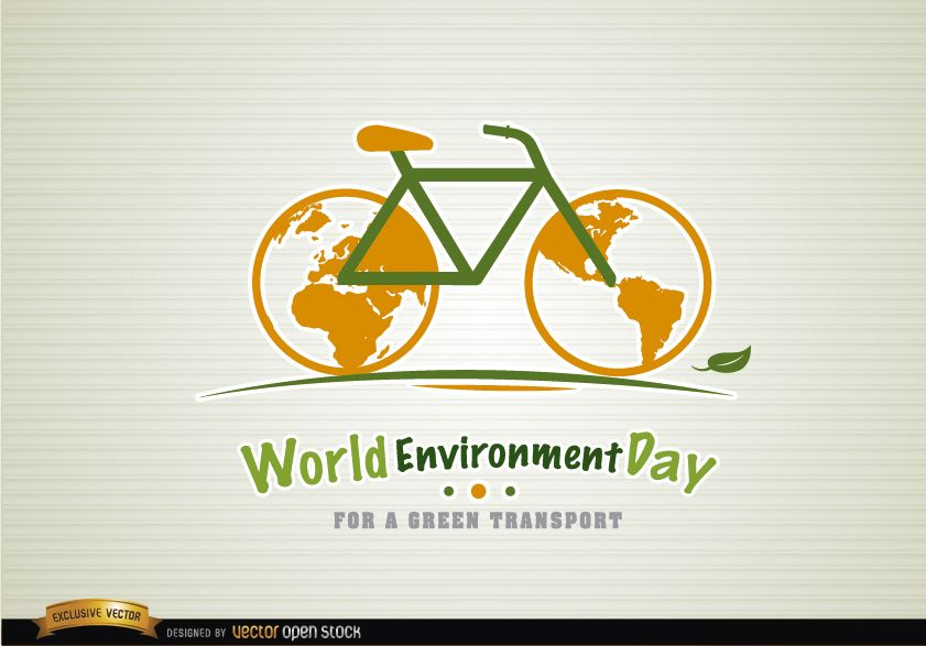 Día del medio ambiente en bicicleta transporte verde