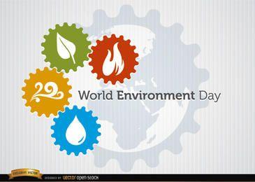 Cuatro elementos engranajes día mundial del medio ambiente.