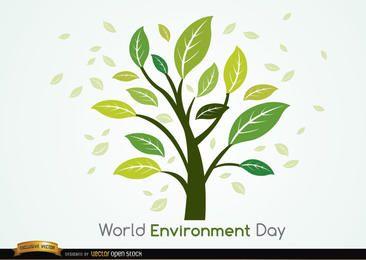 Planta y hojas día mundial del medio ambiente