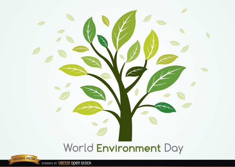 Día mundial del medio ambiente planta y hojas.