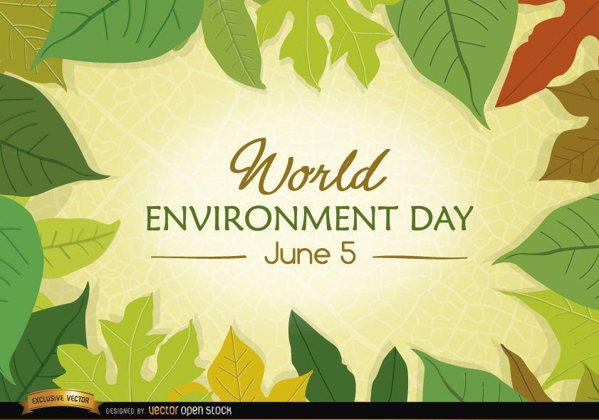 Hojas que rodean el Día Mundial del Medio Ambiente