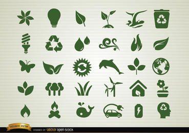 Conjunto de ícones de conscientização ambiental