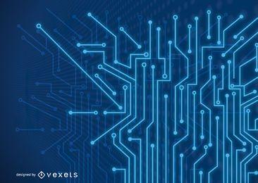 Fundo de linhas futuristas de tecnologia azul fluorescente