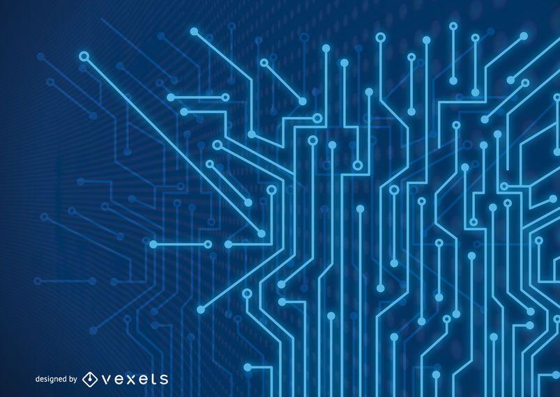 Fundo de linhas de tecnologia fluorescente azul futurista