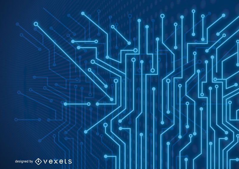 Futuristischer fluoreszierender blauer Tech-Linien-Hintergrund