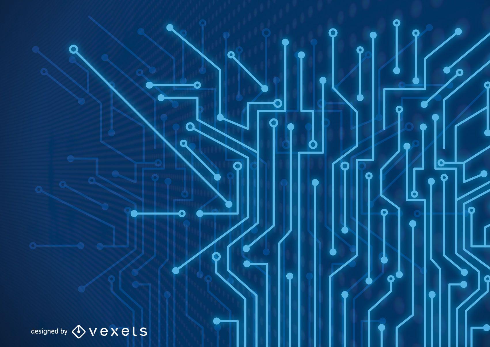 Fondo de líneas de tecnología azul fluorescente futurista